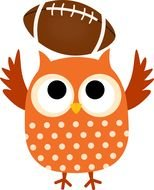 clipart owls with ball for american football