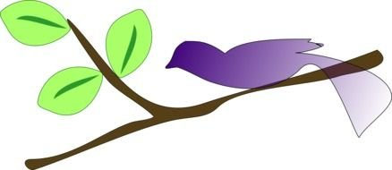 drawing of a purple bird on a tree branch