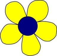 painted yellow flower with a blue core