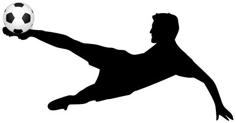 black silhouette of a soccer player with a ball
