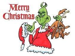 green Grinch and the words Merry Christmas