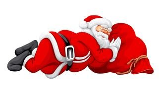 santa claus is sleeping on a red bag with gifts