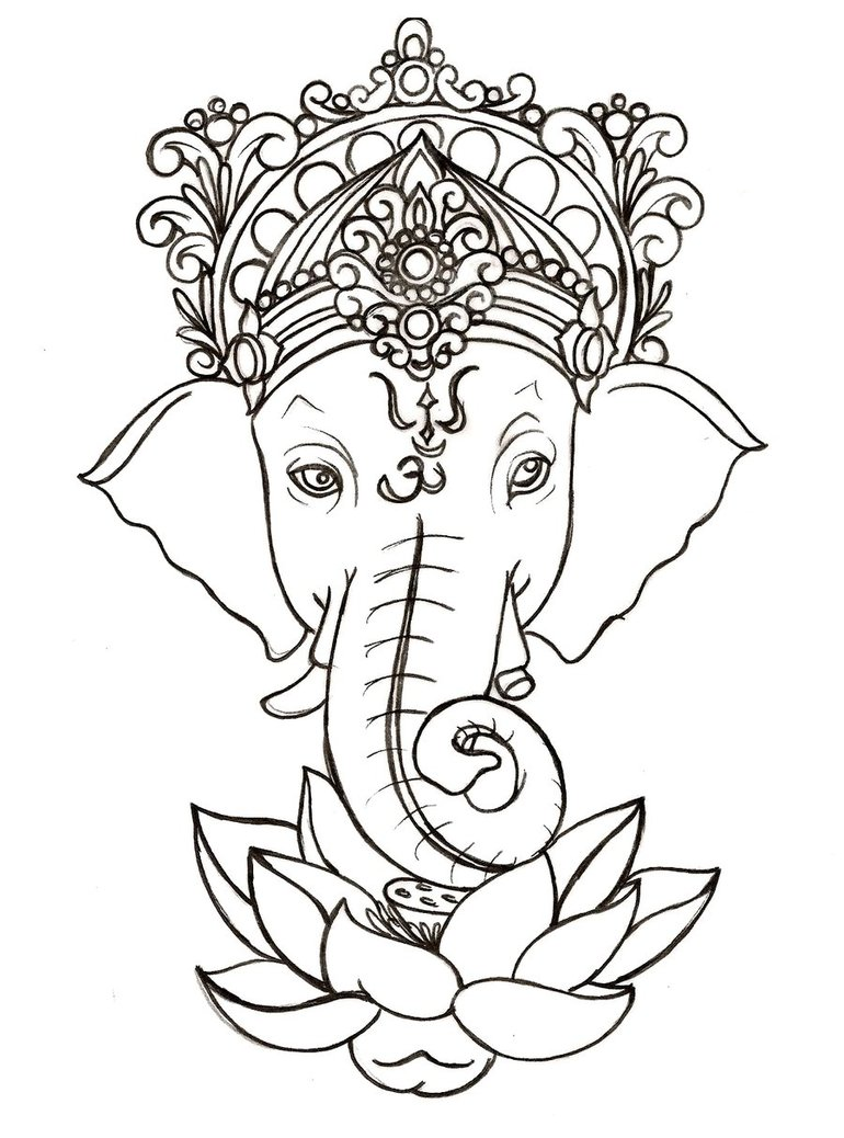 Drawing Of An Elephant On A Lotus Flower Free Image