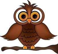 Wise Old Owl Cartoon On A Tree Branch Smu Image clipart