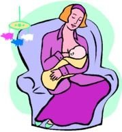 Clipart of mom is feeding her Baby