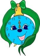 Colorful smiling clock clipart