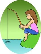 Clipart of the girl is fishing