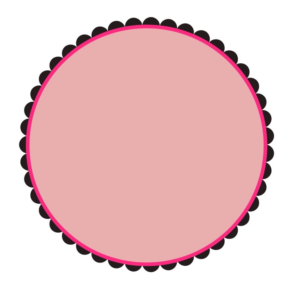 pink scalloped round frame
