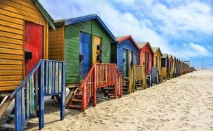 colorful beach houses on the beach in south africa