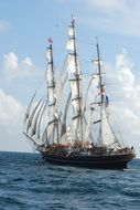 The Stad Amsterdam is a three-masted clipper