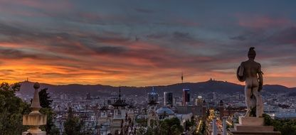 panorama of sunset over the main square of Barcelona