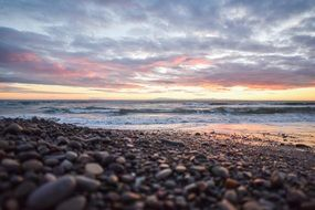 colorful beach sunset pebbles stones seascape