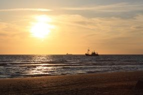 north sea ships in sunset afterglow