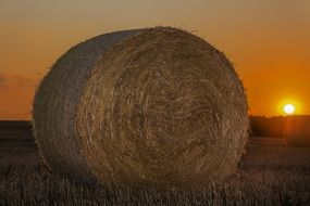 straw bale in the beautiful sunset