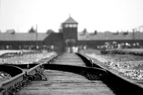 photo of railway tracks to the Holocaust camp in Poland