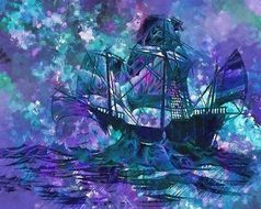 Colorful digital painting of the ship clipart