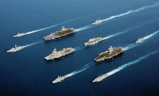 the parade of Navy ships