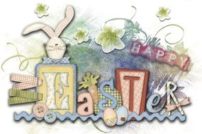 Easter greeting card with inscriptions and a hare