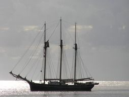 sailing ship in the mediterranean sea in Sardinia
