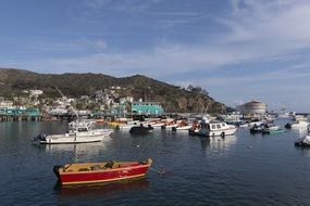 boats in sea bay mountain panorama