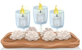 candles and white flowers drawing