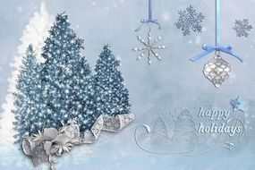 greeting card with christmas and happy new year