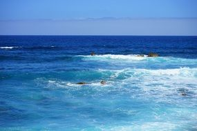 sea white waves in blue water