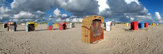 beach chairs on the North Sea coast in the Nordfriesland area