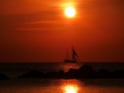 Sunset on sailing ship