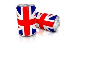 two cans with britain flag