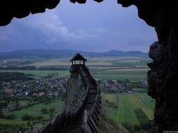 medieval fortress with wooden path