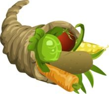 drawing of horn of plenty with vegetables for thanksgiving