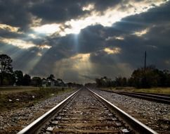 railway tracks clouds