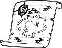 drawing of geographical navigation map