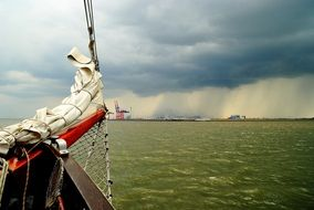 sail on a boat in a storm