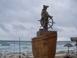 bronze statue of a pirate