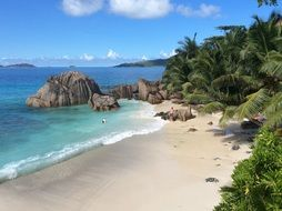 beach on beautiful coast, tropical paradise, seychelles, la digue