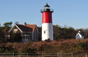 lighthouse on the shores of the ocean in Cape Cod, usa, Massachusetts