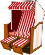red and white striped roofed comfortable beach chair