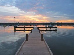 lake dock sunset