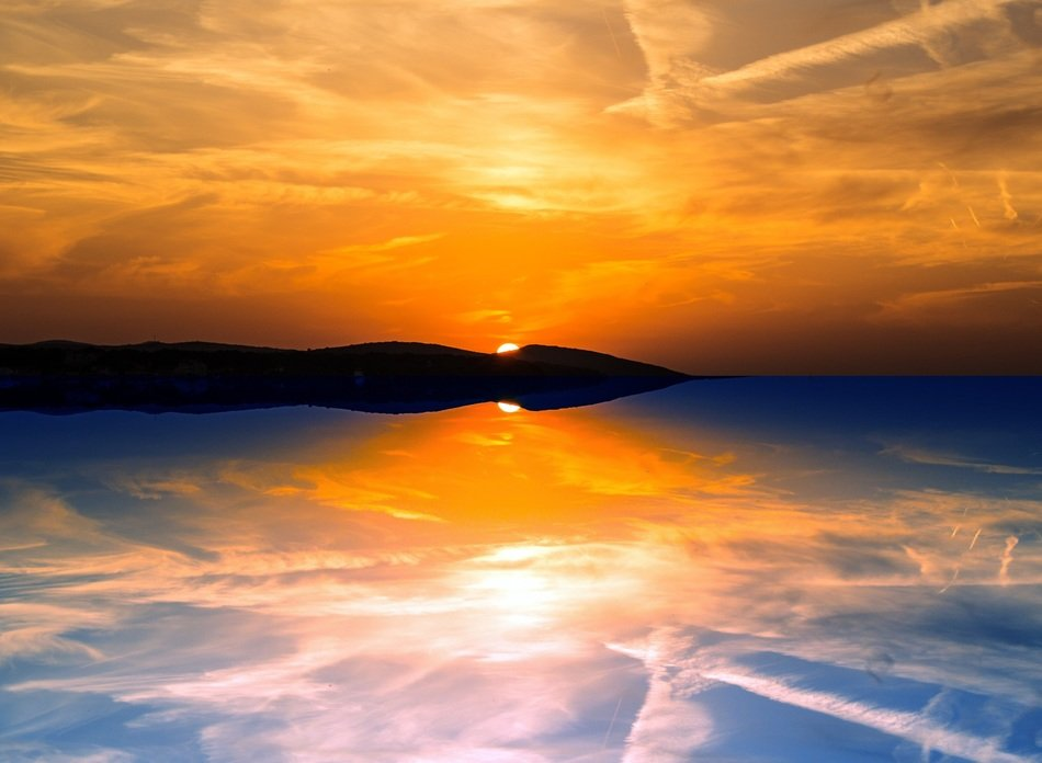 Reflection of the sky in the sea at sunset