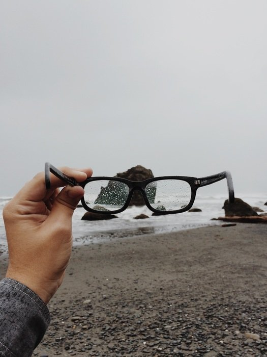 Beach through the glasses