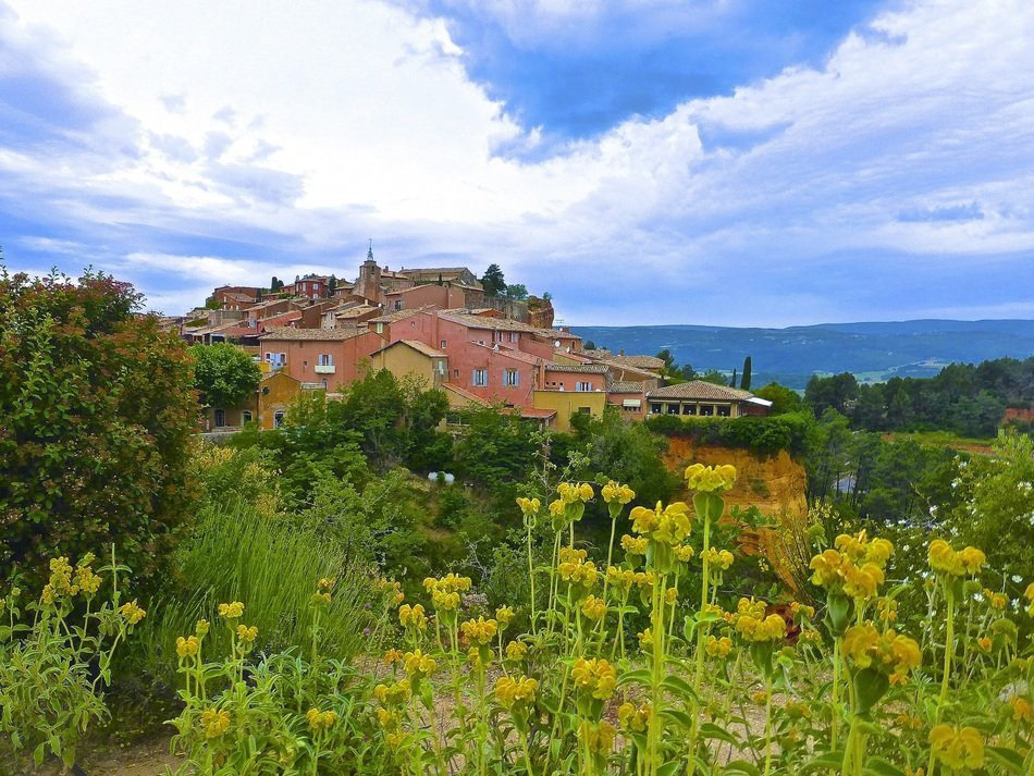 historic village in blooming valley, france, Roussillon