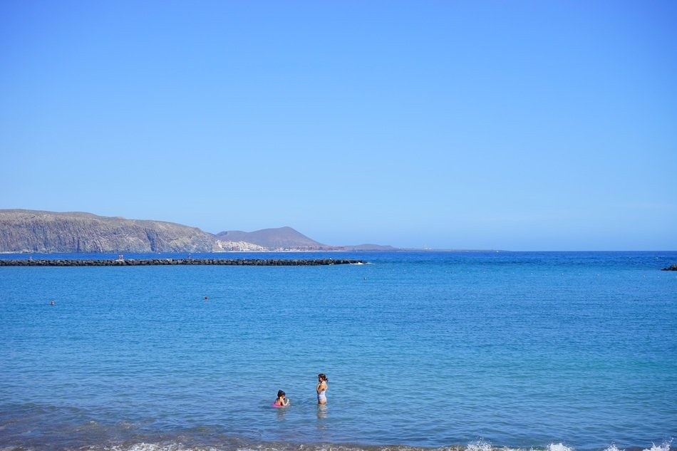 children swim in sea tenerife