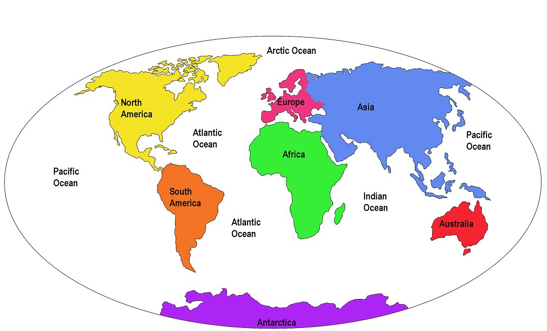 World Map 7 Continents Drawing Free Image