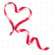 Clipart of Heart Made Of Red Ribbon