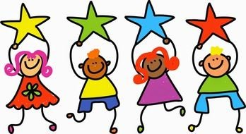 happy colorful cartoon kids hold stars above heads