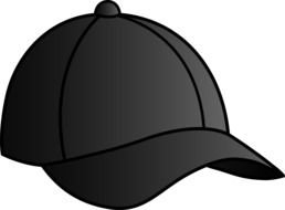 black baseball cap as a graphic image