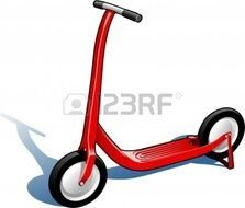 children's red scooter on a white background