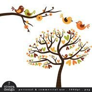 Colorful birds on the trees clipart